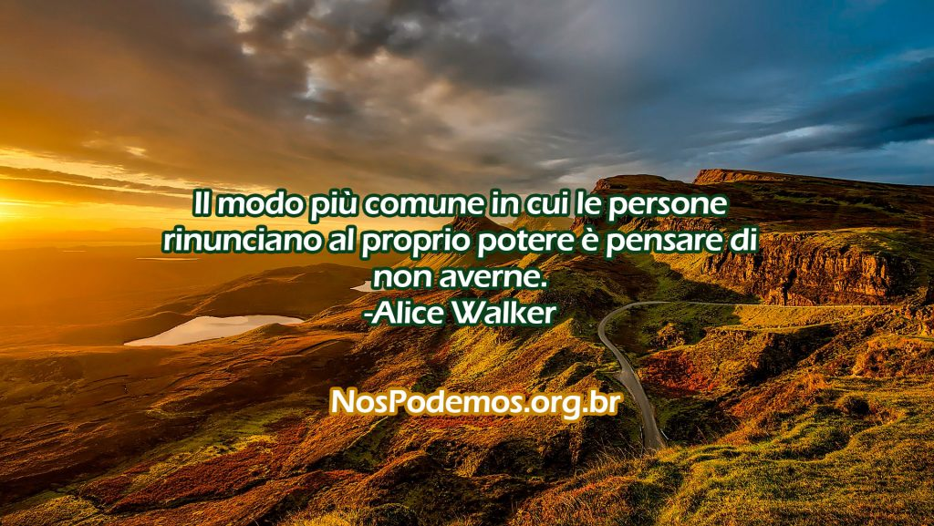 Il modo più comune in cui le persone rinunciano al proprio potere è pensare di non averne. -Alice Walker