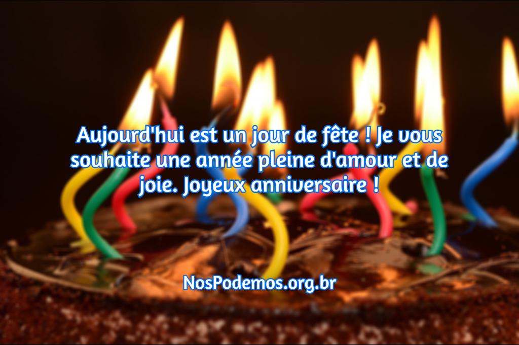 Aujourd'hui est un jour de fête ! Je vous souhaite une année pleine d'amour et de joie. Joyeux anniversaire !