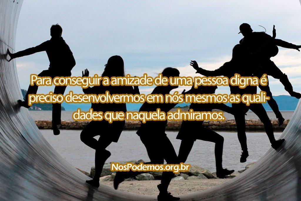 Para conseguir a amizade de uma pessoa digna é preciso desenvolvermos em nós mesmos as qualidades que naquela admiramos.