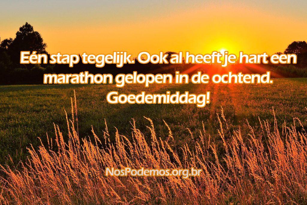 Eén stap tegelijk. Ook al heeft je hart een marathon gelopen in de ochtend. Goedemiddag!