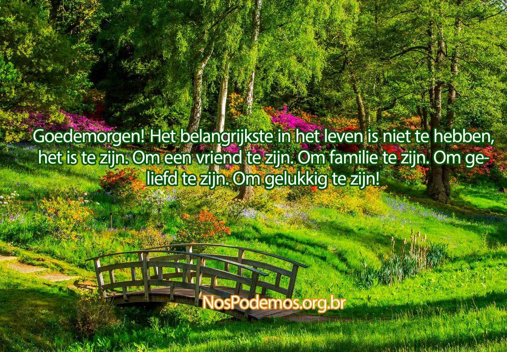 Goedemorgen! Het belangrijkste in het leven is niet te hebben, het is te zijn. Om een vriend te zijn. Om familie te zijn. Om geliefd te zijn. Om gelukkig te zijn!