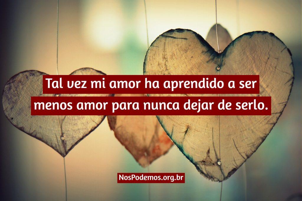 Tal vez mi amor ha aprendido a ser menos amor para nunca dejar de serlo.