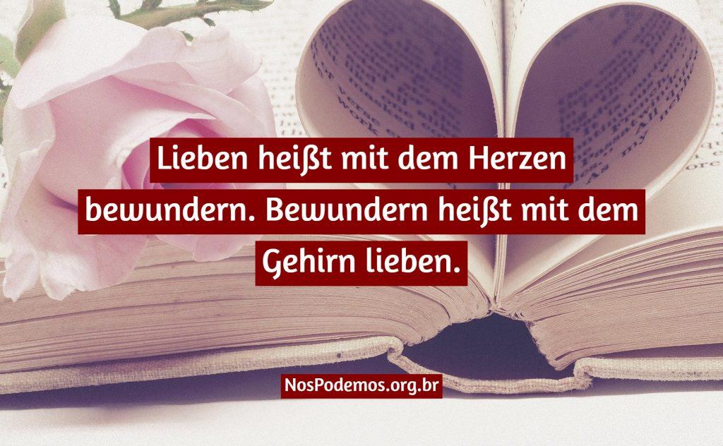 Lieben heißt mit dem Herzen bewundern. Bewundern heißt mit dem Gehirn lieben.