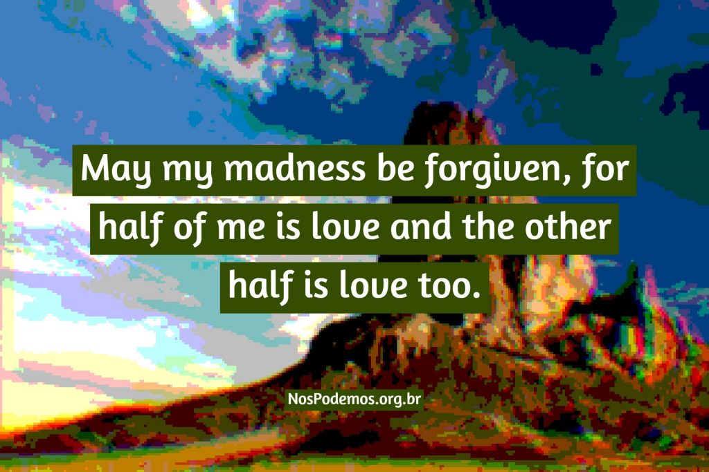 May my madness be forgiven, for half of me is love and the other half is love too.