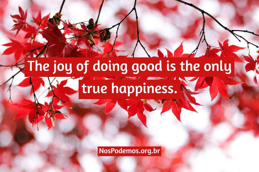 The joy of doing good is the only true happiness.
