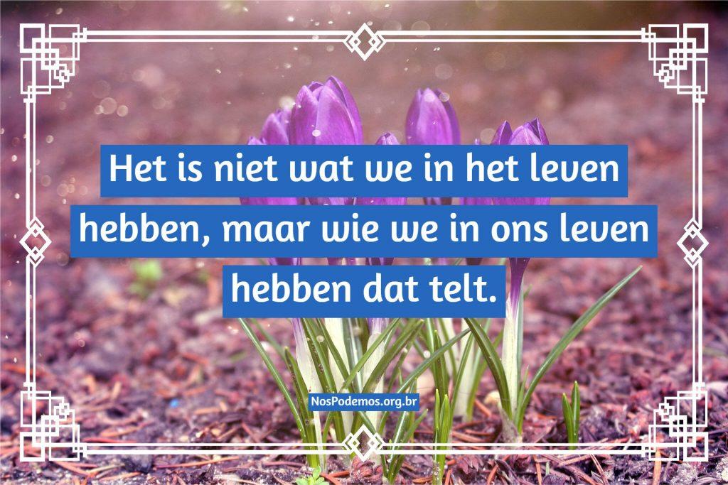 Het is niet wat we in het leven hebben, maar wie we in ons leven hebben dat telt.