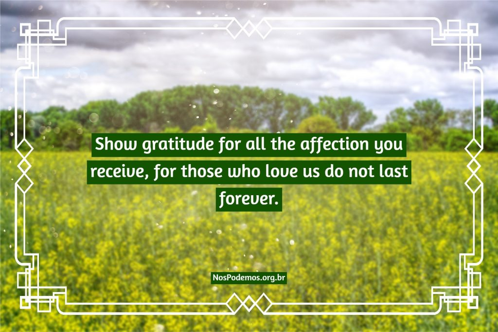 Show gratitude for all the affection you receive, for those who love us do not last forever.