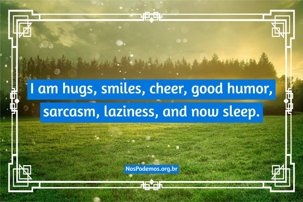 I am hugs, smiles, cheer, good humor, sarcasm, laziness, and now sleep.
