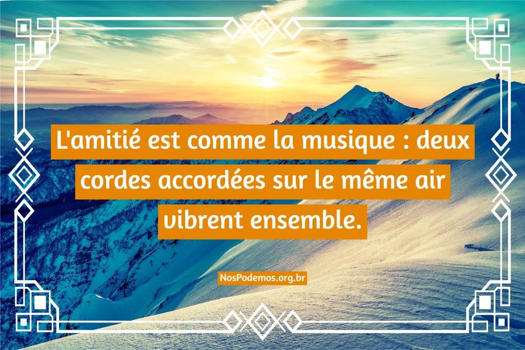 L'amitié est comme la musique : deux cordes accordées sur le même air vibrent ensemble.