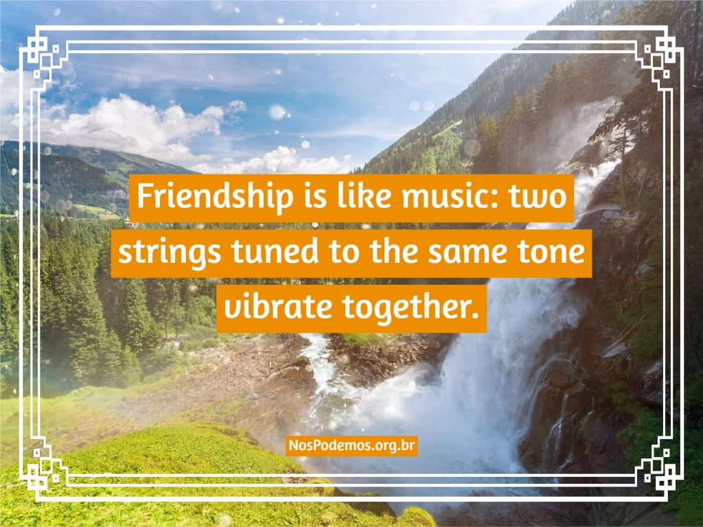 Friendship is like music: two strings tuned to the same tone vibrate together.