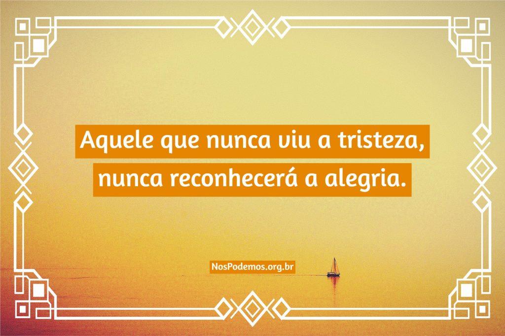 Aquele que nunca viu a tristeza, nunca reconhecerá a alegria.