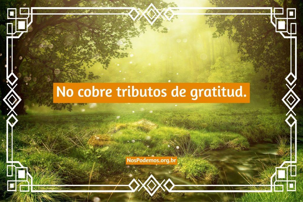No cobre tributos de gratitud.