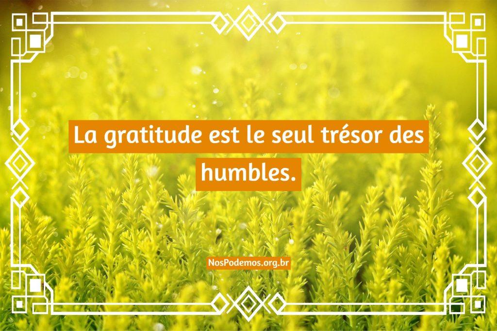 La gratitude est le seul trésor des humbles.