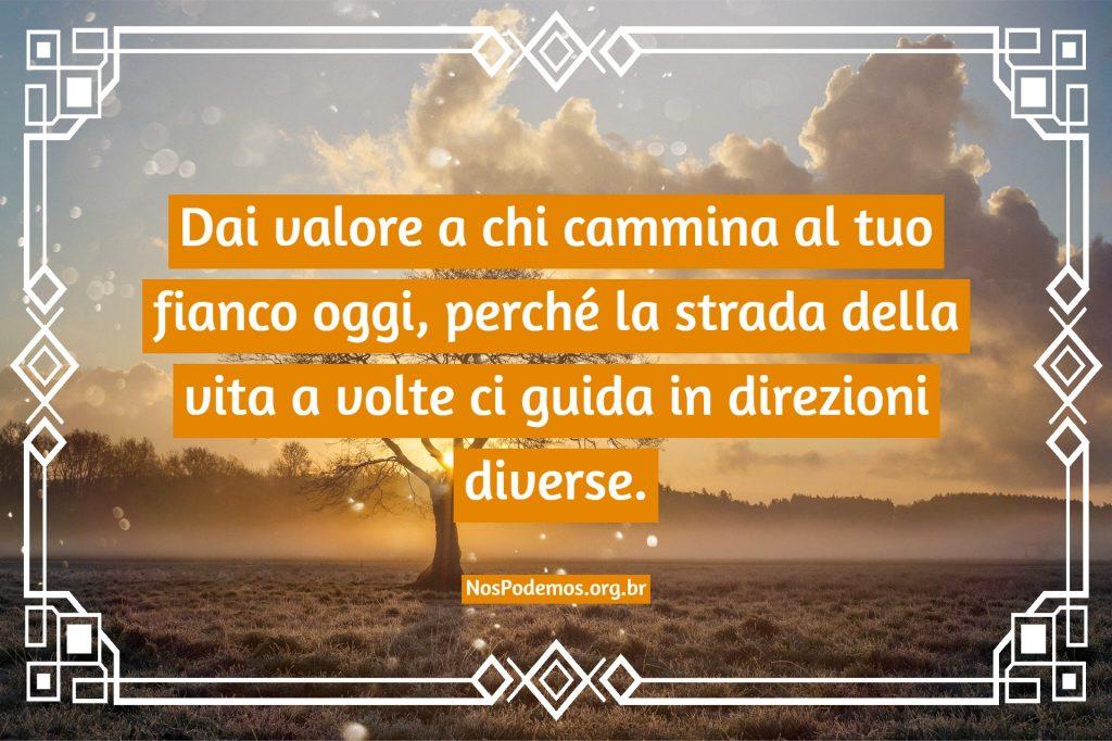 Dai valore a chi cammina al tuo fianco oggi, perché la strada della vita a volte ci guida in direzioni diverse.